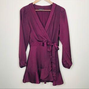 NWT LULUS Burgundy Wrap Style Mini Dress Small